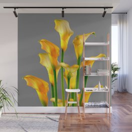 DECORATIVE GOLDEN CALLA LILY FLOWERS ON GREY ART Wall Mural