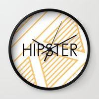 hipster Wall Clocks featuring Hipster by Mr and Mrs Quirynen