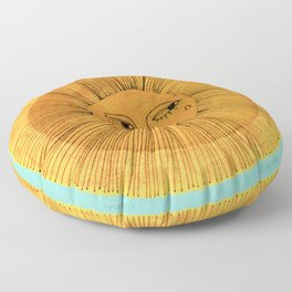 Sun Drawing - Gold and Blue Floor Pillow