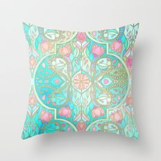 Floral Moroccan in Spring Pastels - Aqua, Pink, Mint & Peach Throw Pillow
