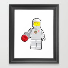 Vintage Lego White Spaceman Minifig Framed Art Print