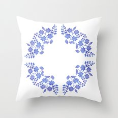Round floral blue Throw Pillow