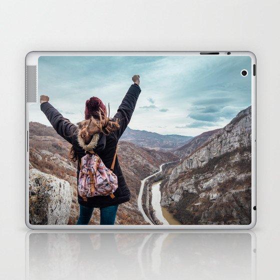 Tourist on the peak of high rocks. Big canyon on Balkan peninsula Laptop & iPad Skin