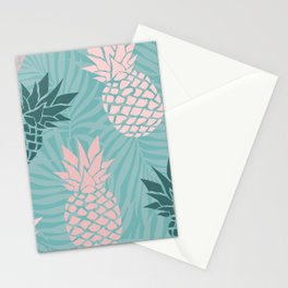 Tropical Pineapple and Palm Leaf Pattern, Teal and Pink Stationery Cards