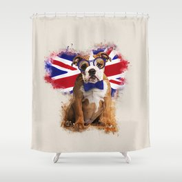 English Bulldog Puppy in Glasses Shower Curtain