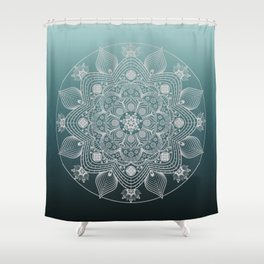 White Lace Floral Mandala of Flowers and Leaves on Teal Blue Ombre Background Shower Curtain