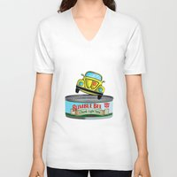 transformers V-neck T-shirts featuring Transformers G1 Bumbleebee Tuna by DarkCrow