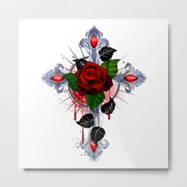 Cross with Red Rose Metal Print