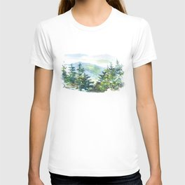 natural landscape watercolor painting T-shirt