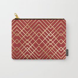 Modern Chinese Red Art Deco Geometric Pattern Carry-All Pouch