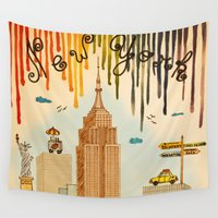 cities Wall Tapestries featuring Rainbow Cities ~ New York by Evisa Isabella Rose