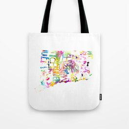 Typographic Connecticut - multi rainbow watercolor map Tote Bag