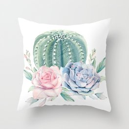Cactus Rose Succulents Throw Pillow
