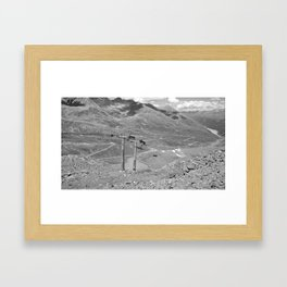 chairlift repair kaunertal alps tyrol austria europe black white Framed Art Print