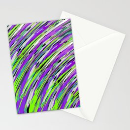 curly line pattern abstract background in purple and green Stationery Cards