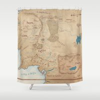 middle earth Shower Curtains featuring Map of Middle Earth by Kaz Palladino