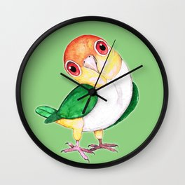 White bellied caique Wall Clock