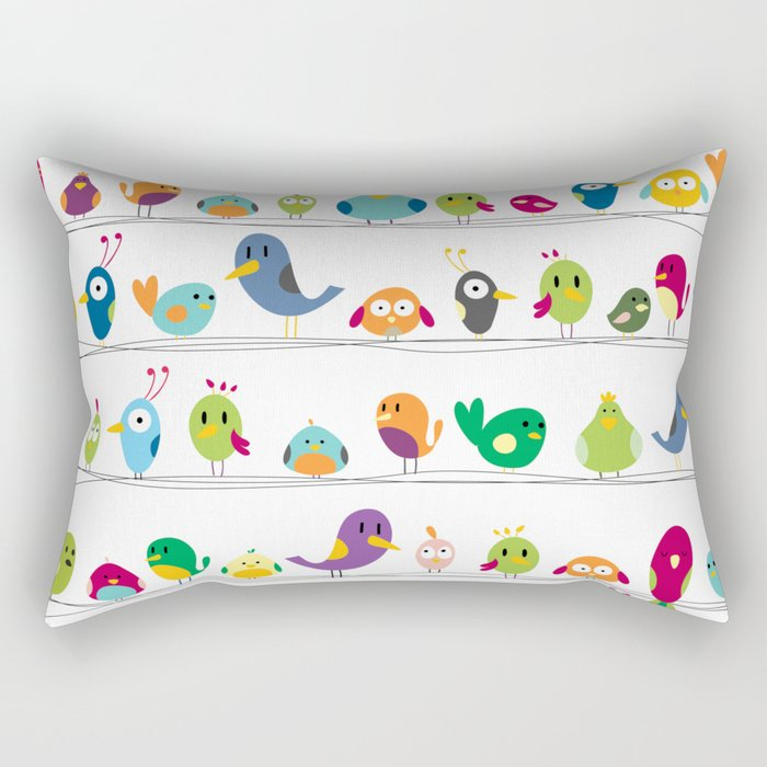 the birds are sitting and gazing... Rectangular Pillow