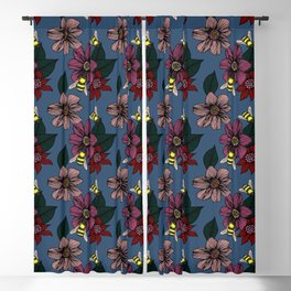 Dark Floral with Bees Blackout Curtain