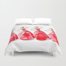 Rouge on the Runway Fashion Illustration Duvet Cover