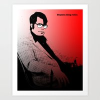 stephen king Art Prints featuring Stephen King Rules by Hazel Bellhop