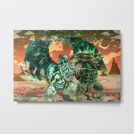 Cthulhu vs Godzilla Metal Print