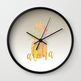 Metallic silver faux gold glitter tropical aloha pastel pineapple Wall Clock