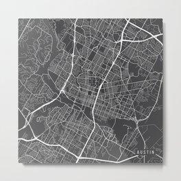 Austin Map, USA - Gray Metal Print
