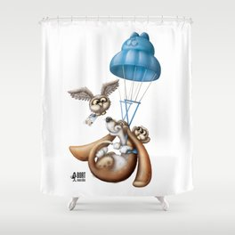 Flying basset Shower Curtain