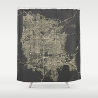 las vegas Shower Curtains featuring Las Vegas Map #1 by Map Map Maps