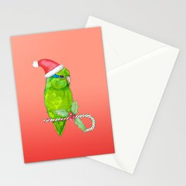 Green parrotlet christmas style Stationery Cards