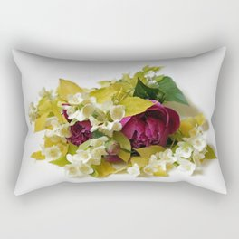 Golden Mock Orange and Pink Peonies Rectangular Pillow