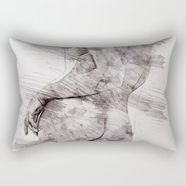 Nude woman pencil drawing Rectangular Pillow