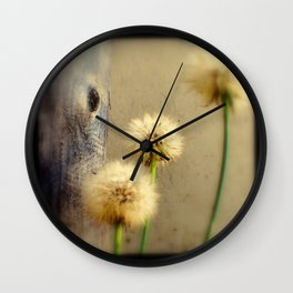 Tree Hugging Dandelions Wall Clock