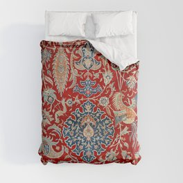 Turkey Hereke Old Century Authentic Colorful Royal Red Blue Blues Vintage Patterns Comforters