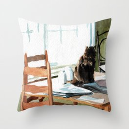 Cat on a Table With Light Coming Through a Window Throw Pillow