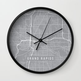 Grand Rapids Map, Michigan USA - Pewter Wall Clock