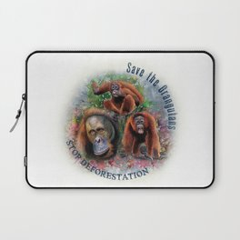 Save the Orangutans Watercolor Illustration Laptop Sleeve