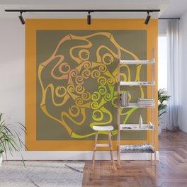 Hope Flower Mandala - Gold Brown Framed Wall Mural