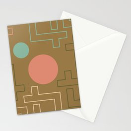 Setting Sun Rising Moon - Mid Century Modern Stationery Cards