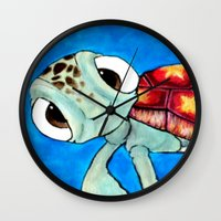 finding nemo Wall Clocks featuring Squirt From Finding Nemo by Jadie Miller