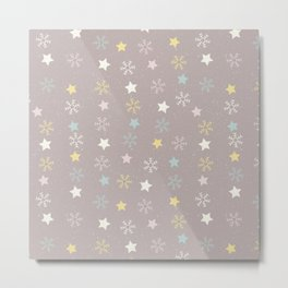 Pastel brown pink yellow Christmas snow flakes stars pattern Metal Print