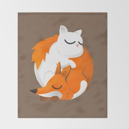 Fox and cat Throw Blanket