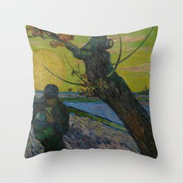 Vincent van Gogh - The Sower with Setting Sun Throw Pillow