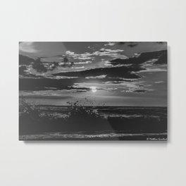 Sunset North Sea Waves Denmark Bjerregard Beach 5 bw Metal Print