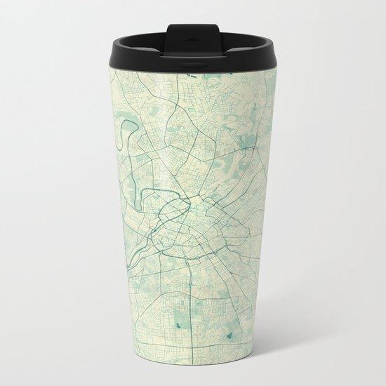 Manchester Map Blue Vintage Metal Travel Mug