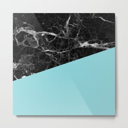 Black marble and island paradise color Metal Print