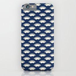Japanese motive white and blue geometric pattern iPhone Case