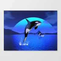 orca Canvas Prints featuring Orca by Simone Gatterwe