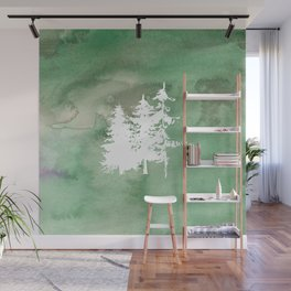 Hand painted forest green white watercolor pine trees Wall Mural